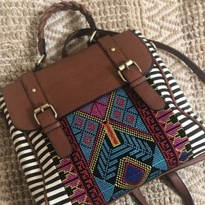 Handbags - Backpack/crossbody Aztec design bag.